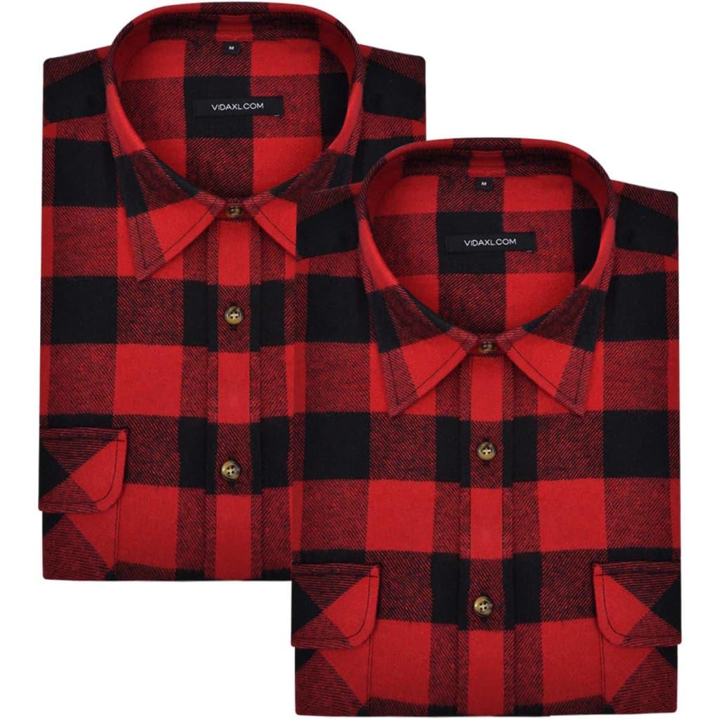 99130982 2 x Herren Arbeitshemd Holzfäller Flanellhemd kariert rot-schwarz XL