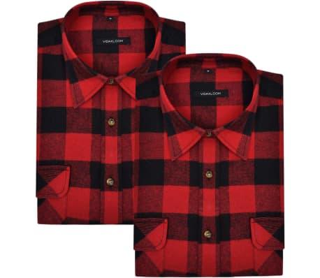 Overhemd Rood Zwart.Overhemd Rood Zwart Geblokt Flanel Maat Xl 2 St Online Kopen Vidaxl Nl
