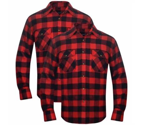 2 Męskie koszule flanelowe w zielono czarną kratę rozmiar XL  Oh8cw