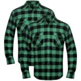 Cămașă de lucru/flanelă bărbați, tartan verde-negru, L, 2 buc.
