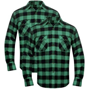 Cămașă de lucru/flanelă bărbați, tartan verde-negru, L, 2 buc.[1/6]