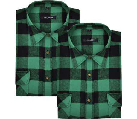 Cămașă de lucru/flanelă bărbați, tartan verde-negru, L, 2 buc.[2/6]