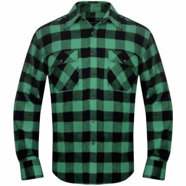 Cămașă de lucru/flanelă bărbați, tartan verde-negru, L, 2 buc.[3/6]