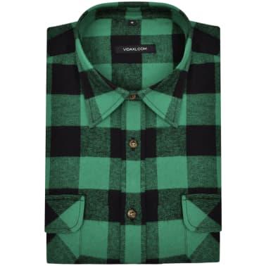 Cămașă de lucru/flanelă bărbați, tartan verde-negru, L, 2 buc.[4/6]