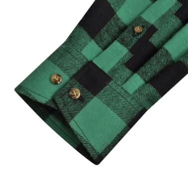 Cămașă de lucru/flanelă bărbați, tartan verde-negru, L, 2 buc.[5/6]