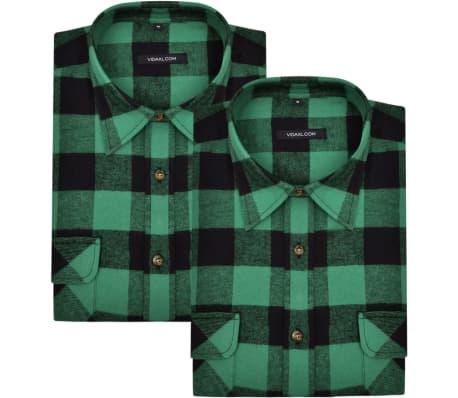 2 x Herren Arbeitshemd Holzfäller Flanellhemd kariert grün schwarz XXL