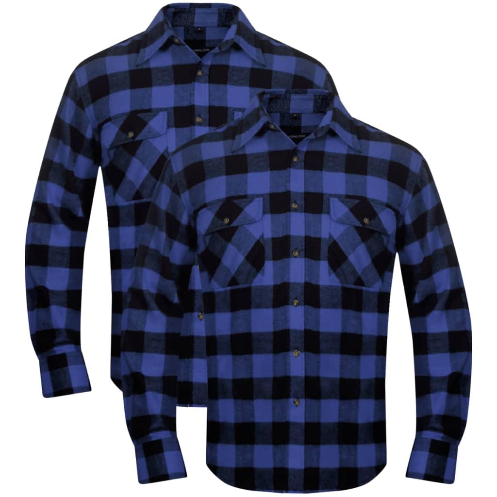 2ks Pánská zateplená flanelová pracovní košile modro-černá kostka M