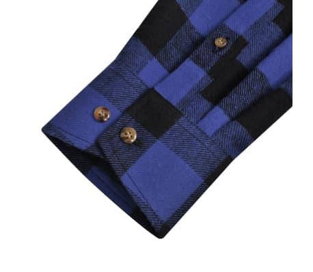 Cămașă de lucru/flanelă bărbați, tartan albastru-negru, M, 2 buc.[5/6]