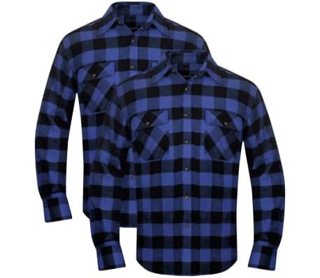 Overhemd Blauw.Overhemd Blauw Zwart Geblokt Flanel Maat Xl 2 St Online Kopen