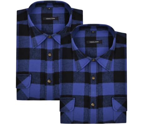 Overhemd Xl.Overhemd Blauw Zwart Geblokt Flanel Maat Xl 2 St Online Kopen