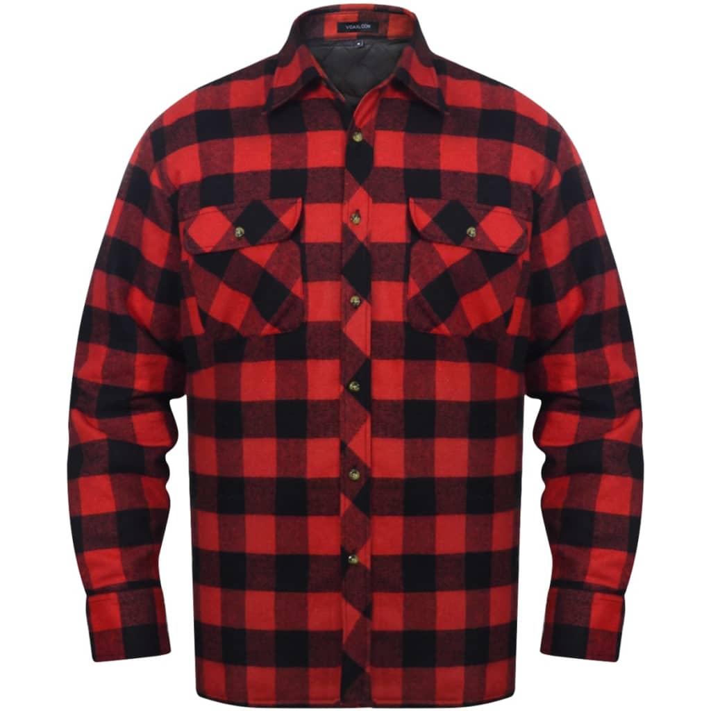 Pánská zateplená flanelová pracovní košile červeno-černá kostkovaná vel. XL