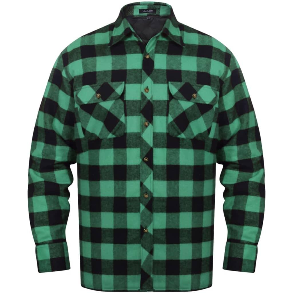 Pánská zateplená flanelová pracovní košile zeleno-černá kostka L 05309c8f50
