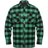 Cămașă de lucru bărbați căptușită/flanel tartan verde-negru, mărime L