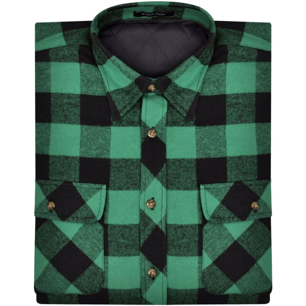 3717eb2b7e97 Pánská zateplená flanelová pracovní košile zeleno-černá kostka L