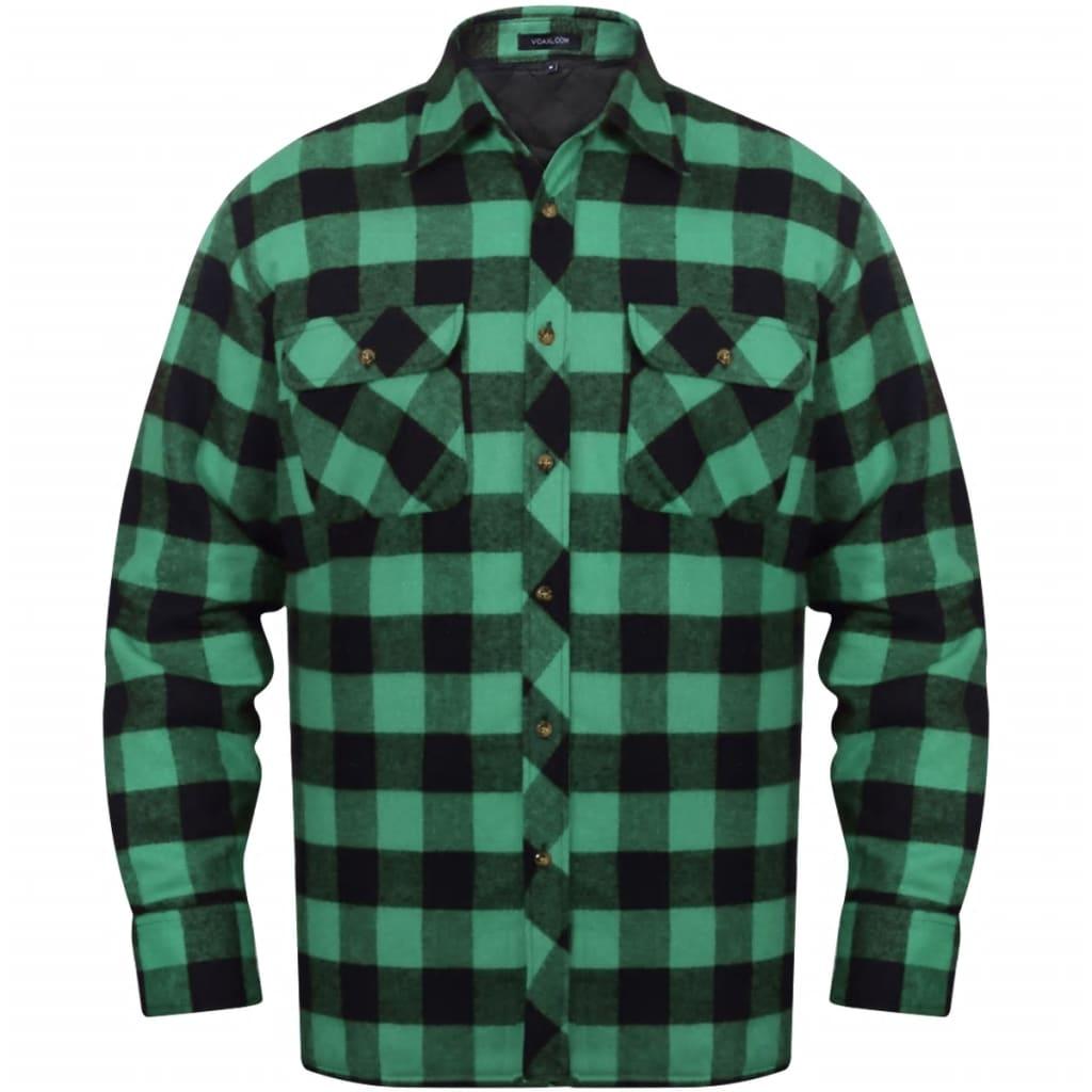 Cămașă de lucru bărbați căptușită/flanel tartan verde-negru, mărime XL vidaxl.ro