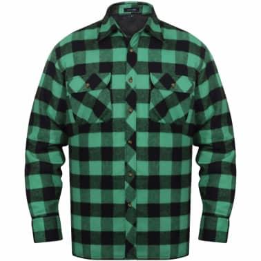70e61ed3fa Olcsó Bélelt kockás férfi ing méret XL zöld-fekete | vidaXL.hu
