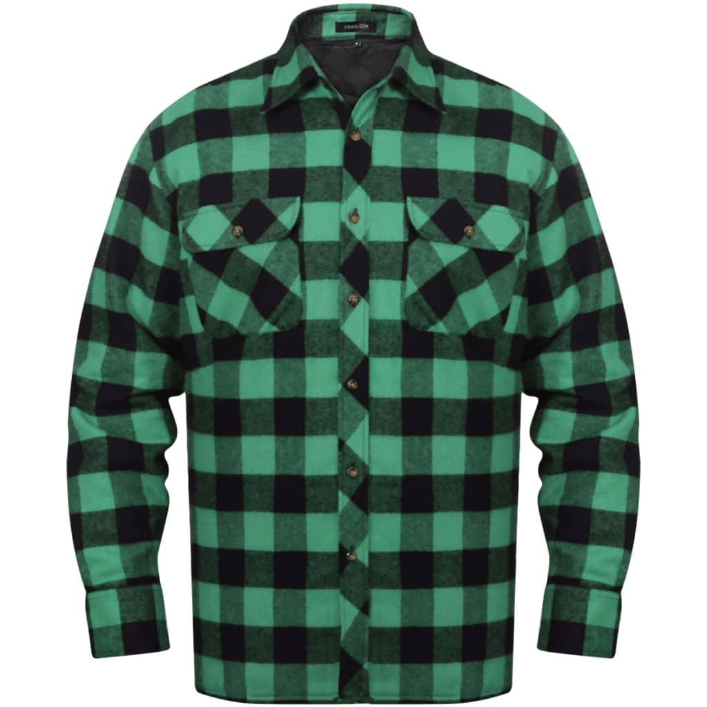 Pánská zateplená flanelová pracovní košile zeleno-černá kostkovaná vel. XXL
