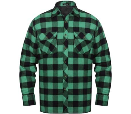 vidaXL Męska ocieplana koszula flanelowa w zielono czarną
