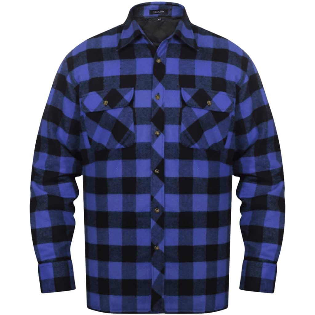 Pánská zateplená flanelová pracovní košile modro-černá kostka vel. M