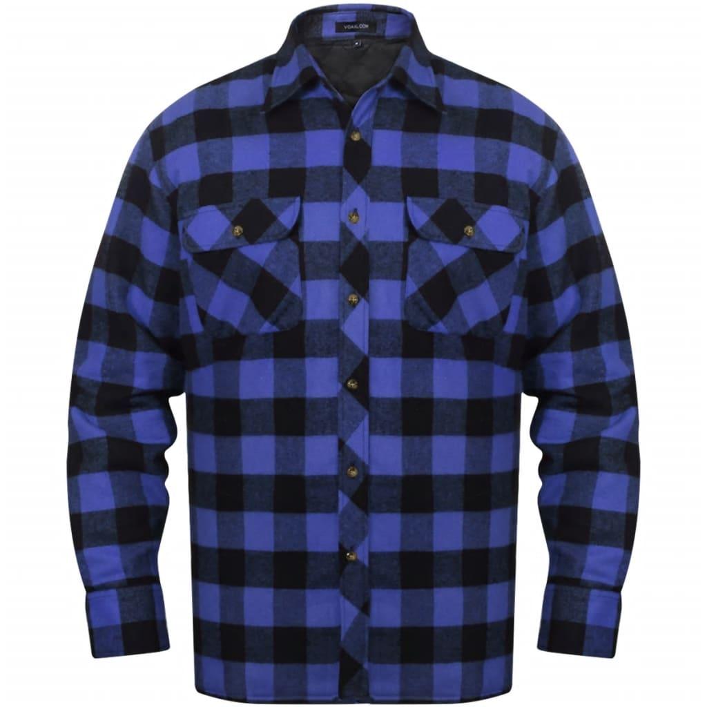 Pánská zateplená flanelová pracovní košile modro-černá kostkovaná XXL 042bf44875