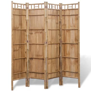 vidaXL 4-Panel Bamboo Room Divider[2/6]