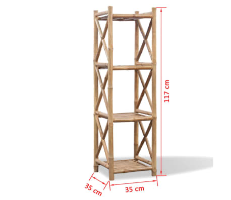 vidaXL 4-Tier Bamboo Shelf Square[5/5]