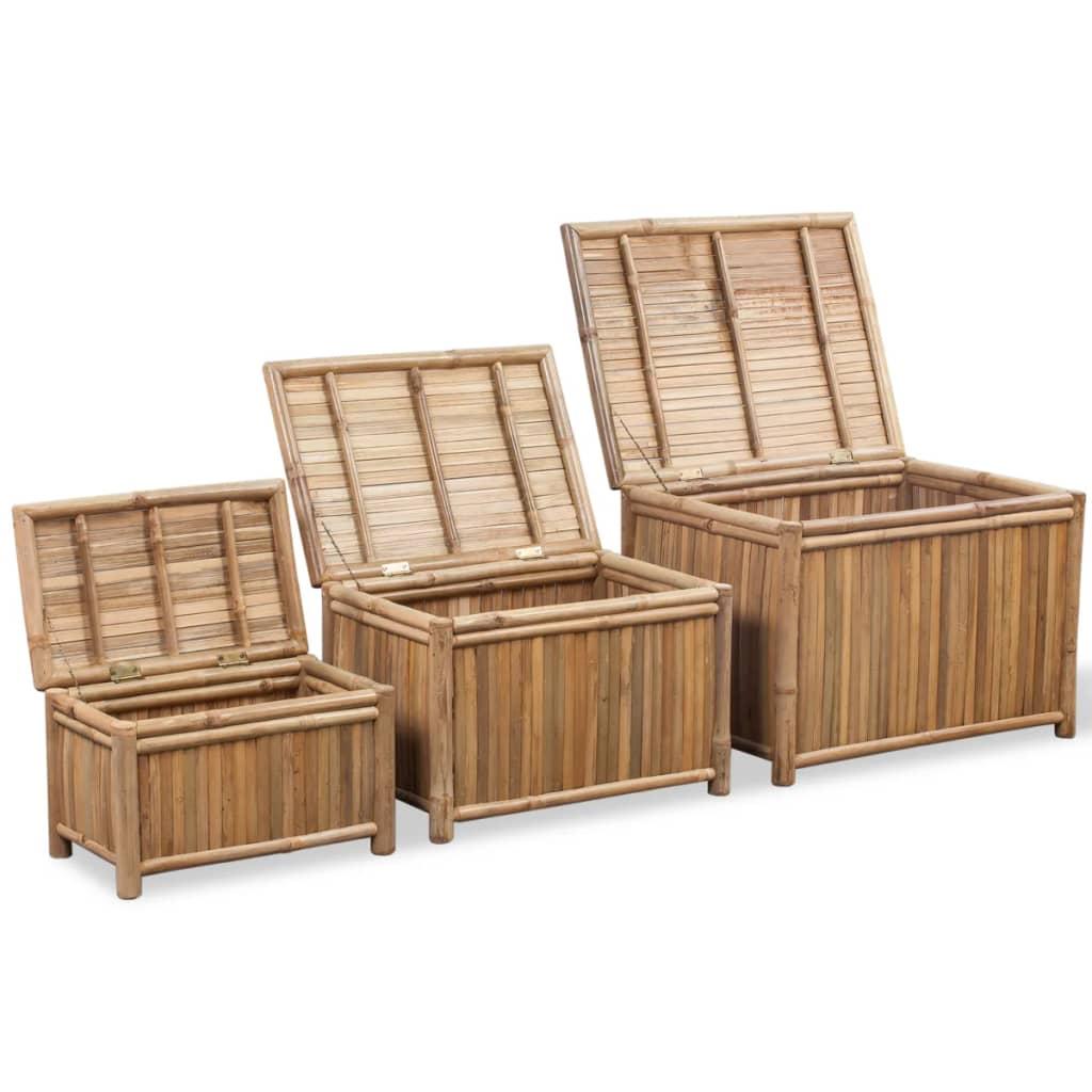 vidaXL Úložné boxy 3 ks bambus