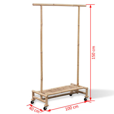 vidaXL Bamboo Clothes Rack[6/6]