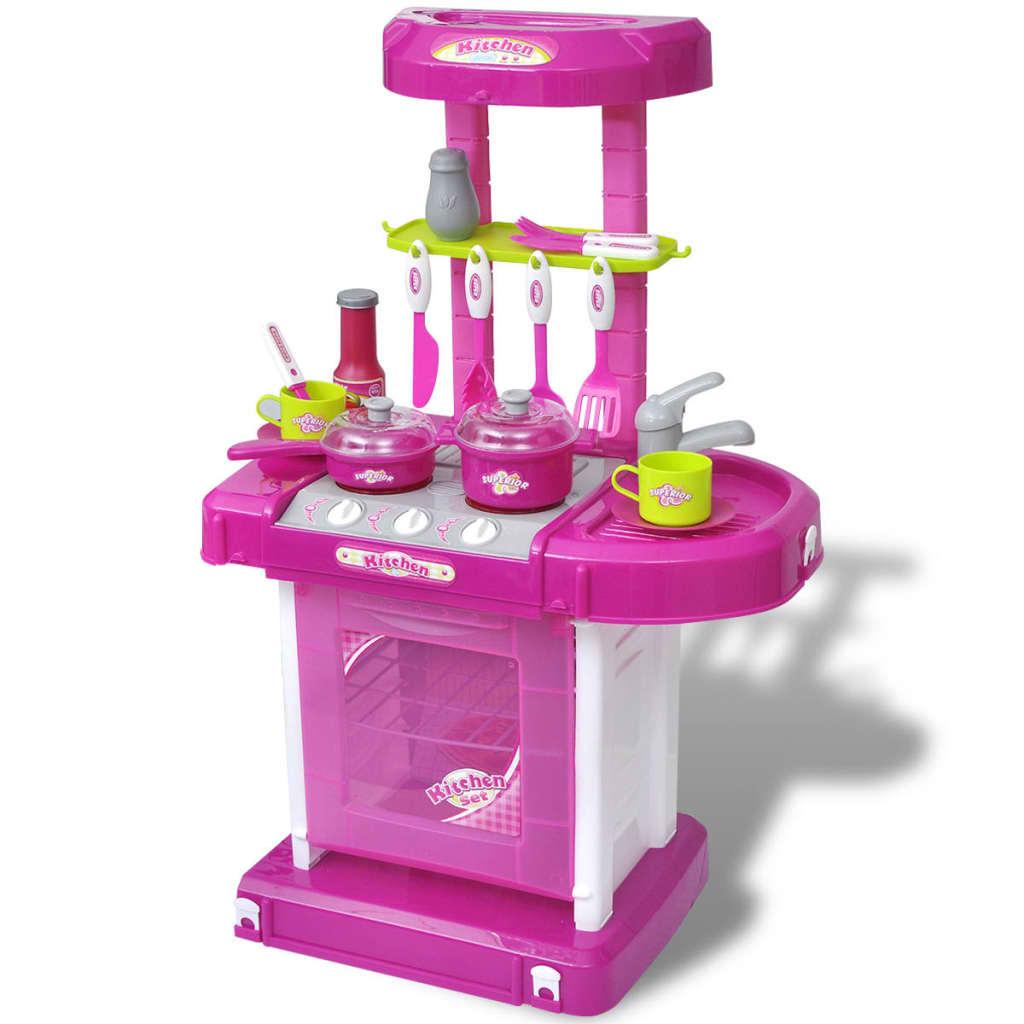 Bucătărie de jucărie pentru copii cu lumini și efecte sonore, Roz vidaxl.ro