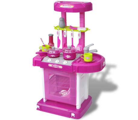 vidaXL Leksakskök för barn med ljus- och ljudeffekter rosa[1/6]