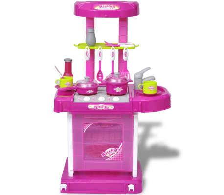 vidaXL Leksakskök för barn med ljus- och ljudeffekter rosa[2/6]