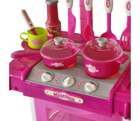 vidaXL Leksakskök för barn med ljus- och ljudeffekter rosa[3/6]