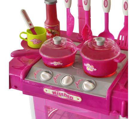 vidaXL Lekekjøkken med lys-/lydeffekt rosa[3/6]