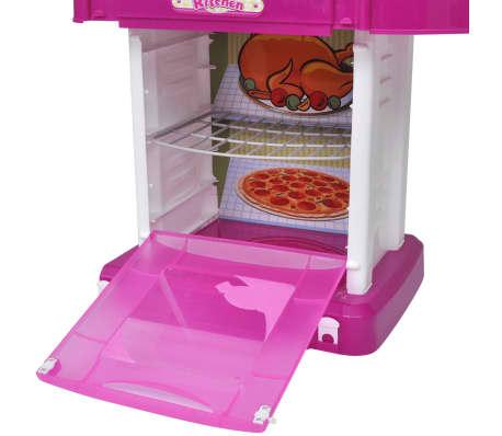 vidaXL Leksakskök för barn med ljus- och ljudeffekter rosa[5/6]