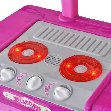 vidaXL Leksakskök för barn med ljus- och ljudeffekter rosa[4/6]