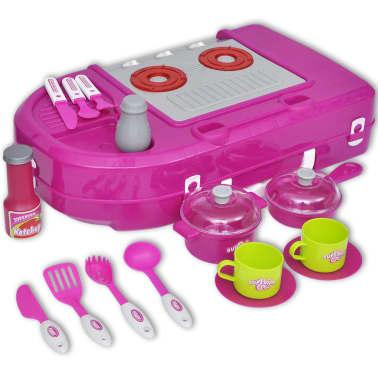 vidaXL Leksakskök för barn med ljus- och ljudeffekter rosa[6/6]