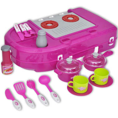 vidaXL Lekekjøkken med lys-/lydeffekt rosa[6/6]