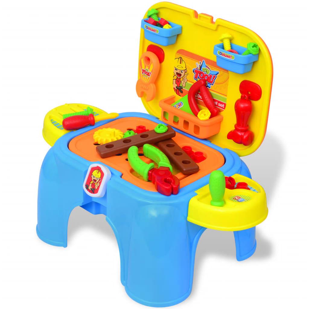 Masă de jucărie pentru copii, cu scule, albastru + galben poza 2021 vidaXL