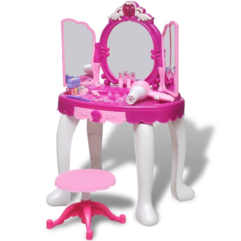 Dětský toaletní stolek na hraní s 3 zrcadly, světly a zvukovými efekty
