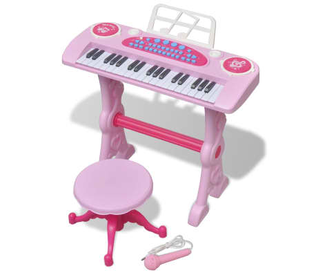 vidaXL Keyboard för barn med pall och mikrofon 37 tangenter rosa[1/8]
