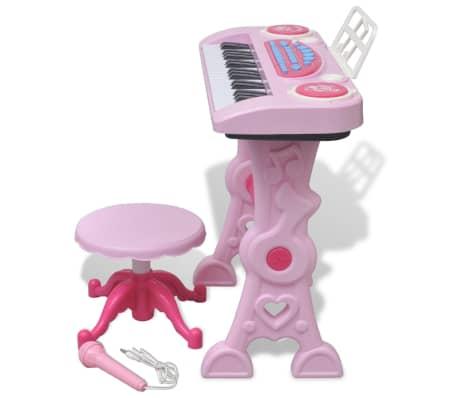 vidaXL Keyboard för barn med pall och mikrofon 37 tangenter rosa[3/8]