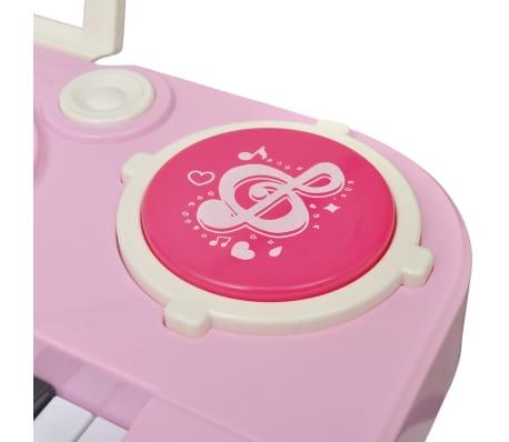 vidaXL Keyboard för barn med pall och mikrofon 37 tangenter rosa[6/8]