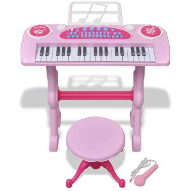 vidaXL Keyboard för barn med pall och mikrofon 37 tangenter rosa[2/8]