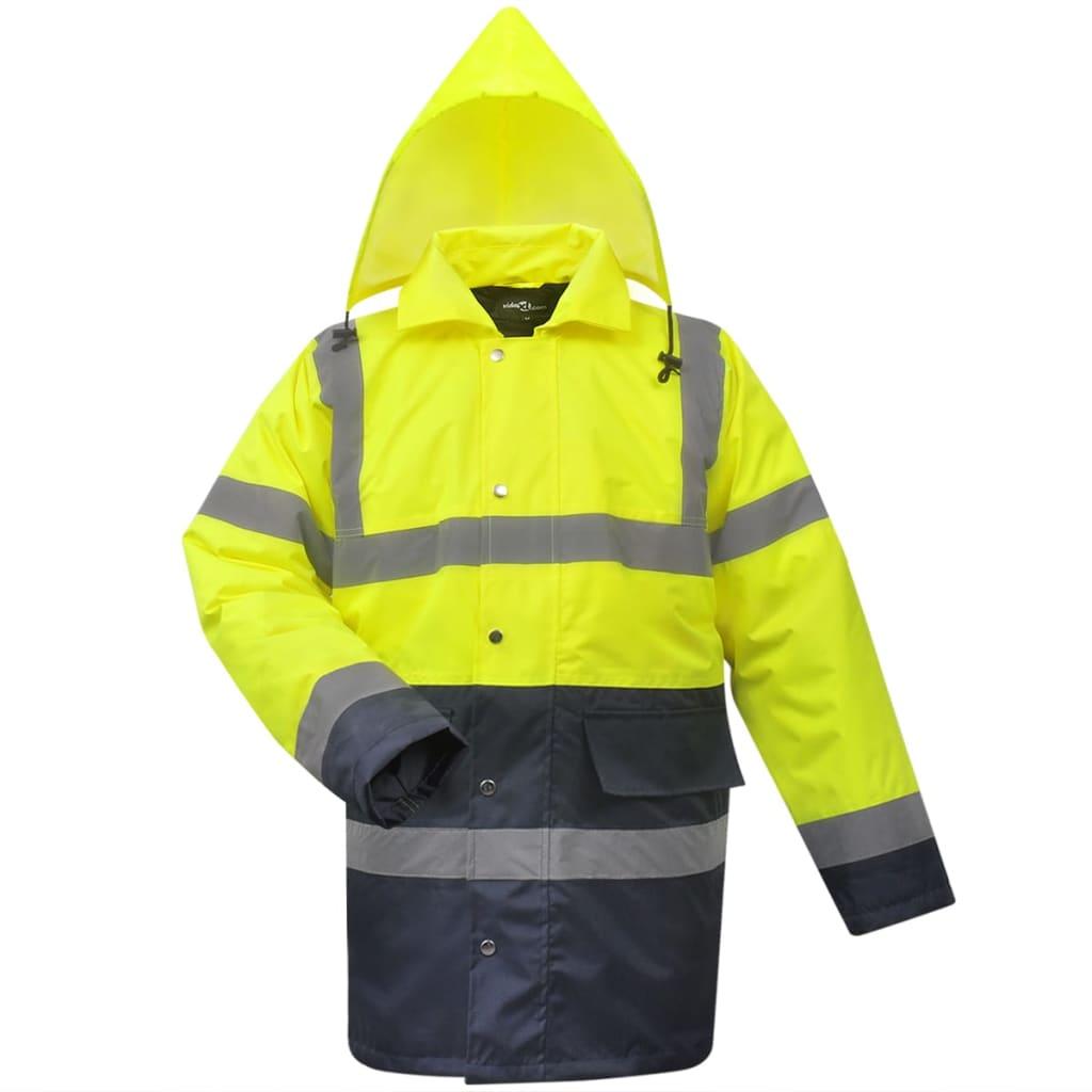 vidaXL Jachetă reflectorizantă bărbați, poliester, L, galben+albastru imagine vidaxl.ro