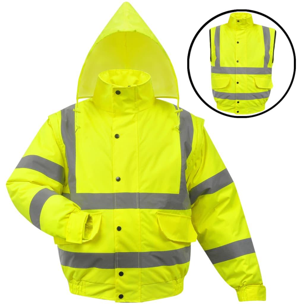 vidaXL Jachetă reflectorizantă pentru bărbați, poliester, L, galben imagine vidaxl.ro