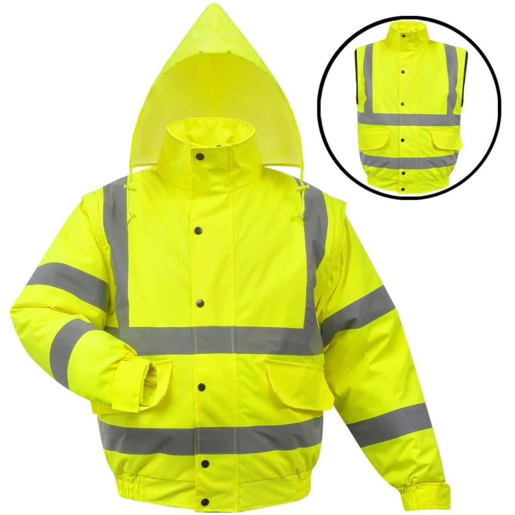 vidaXL Jachetă reflectorizantă pentru bărbați, poliester, XXL, galben vidaxl.ro