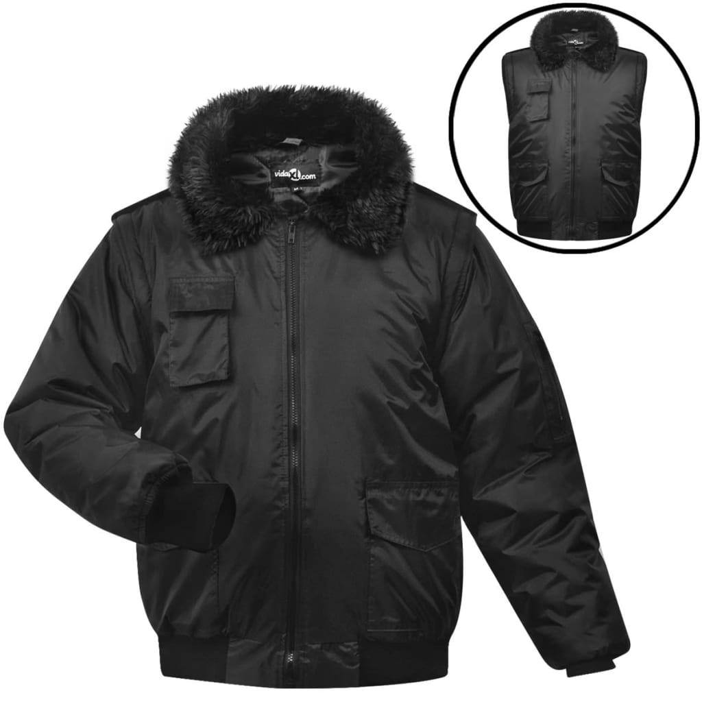 vidaXL Pánská letecká bunda, XXL, černá, polyester