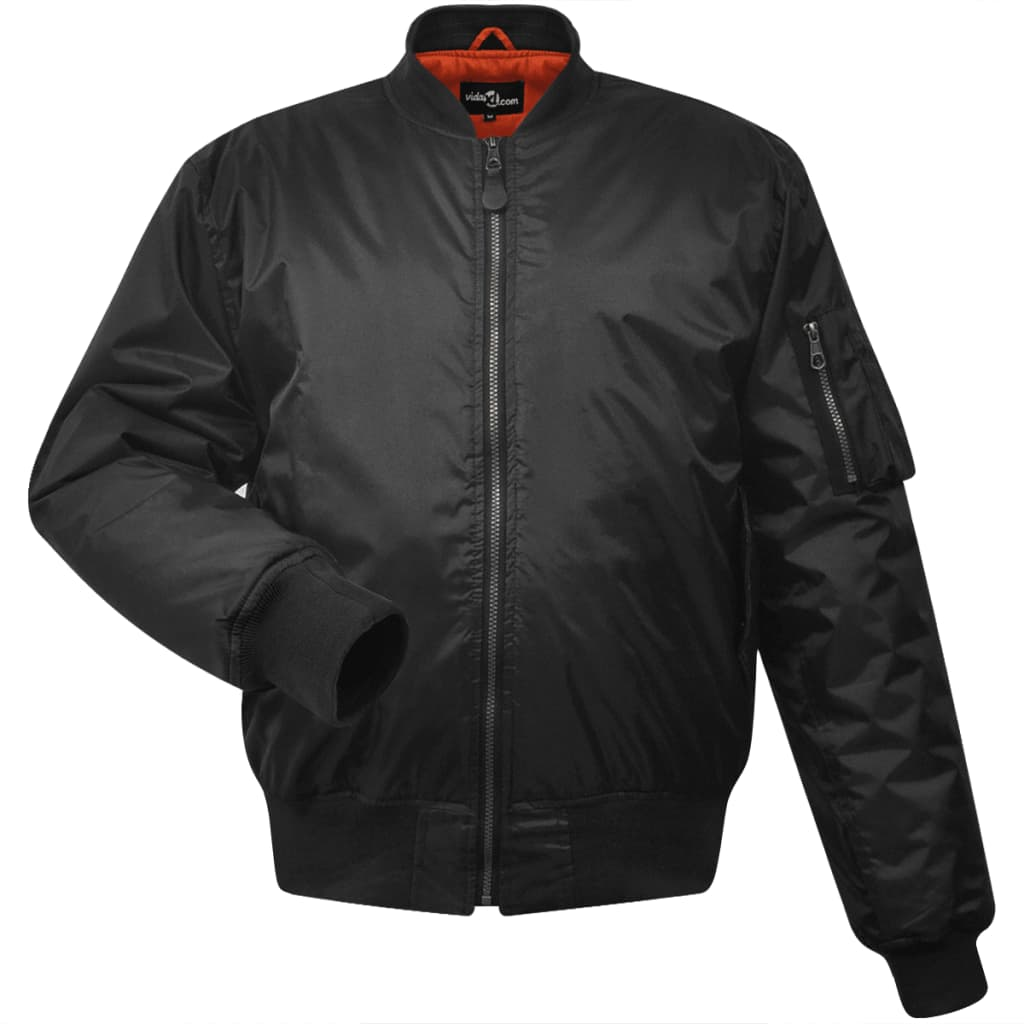 vidaXL Pánská bomber bunda, L, černá, polyester