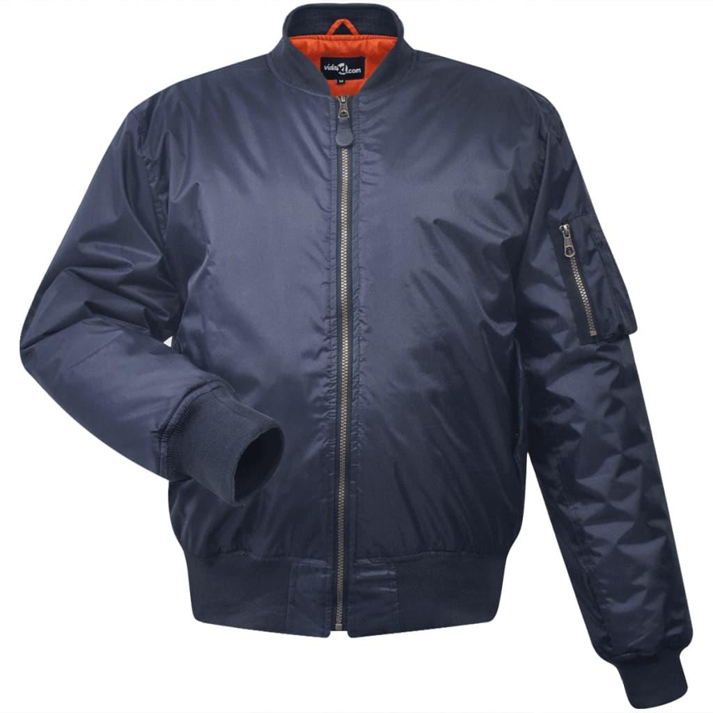 vidaXL Pánská bomber bunda, L, námořnická modrá, polyestr