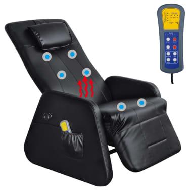 vidaXL Sillón de masaje eléctrico gravedad cero cuero artificial negro[6/10]